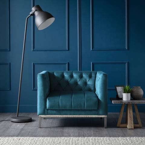 The Great Sofa Company Mayfair Loveseat Velvet Peacock Stainless Steel Legs