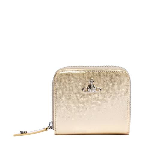 Vivienne Westwood Gold Pimlico Medium Zip Wallet