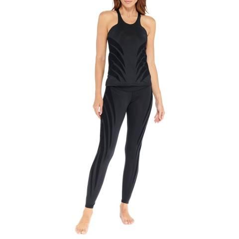 Electric Yoga Black Reversible Velvet Flocked Leggings