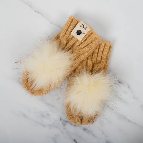 Aran Traditions Oatmeal Cable Pom Pom Mittens