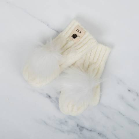 Aran Traditions Cream Cable Pom Pom Mittens