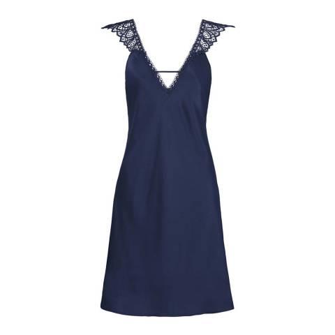 Simone Perele Blue Nuit Pensee Silk Nightdress