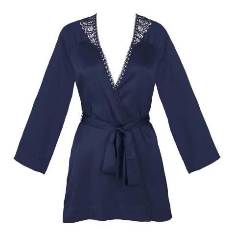 Simone Perele Blue Nuit Pensee Silk Kimono