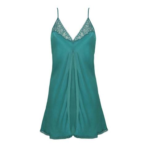 Simone Perele Emerald Green Pensee Silk Nightdress