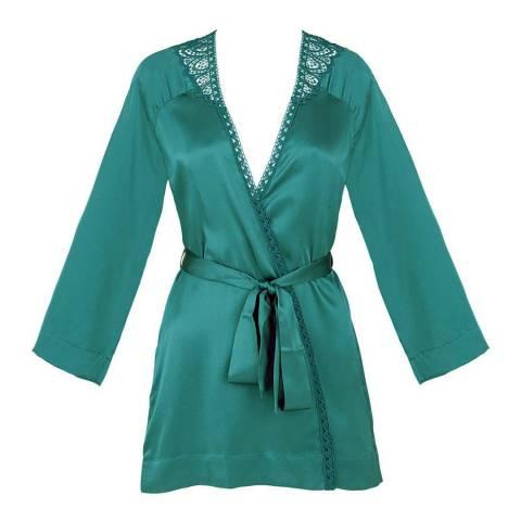 Simone Perele Emerald Green Pensee Silk Kimono