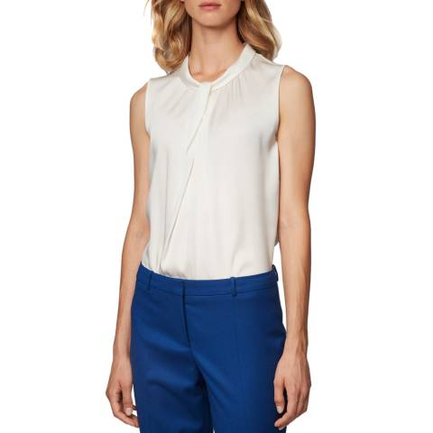 BOSS White Iyabo Silk Blend Top