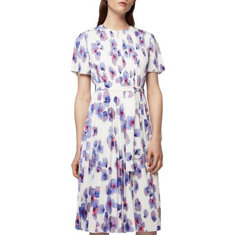 BOSS Purple Floral Diplissee Dress