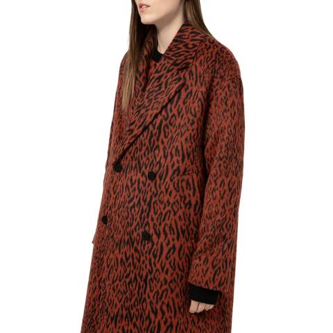 HUGO Brown Leopard Marca Wool Blend Coat