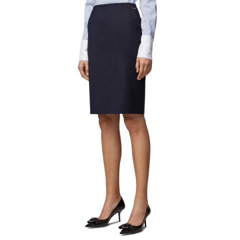 BOSS Navy Veltina Wool Blend Tailored Skirt