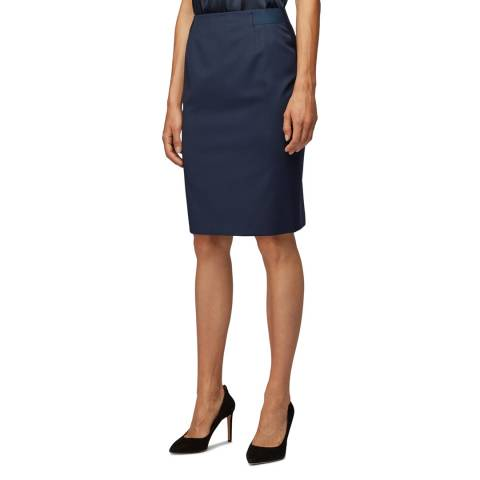 BOSS Navy Veriba Wool Tailored Skirt