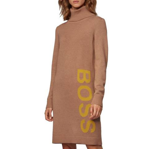 BOSS Camel Wabellettas Wool Blend Dress