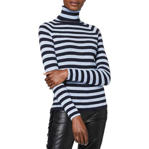 BOSS Blue Stripe Waffin Wool Blend Jumper