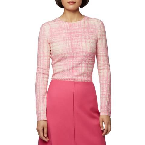 BOSS Pink Print Feleanor Wool Jumper