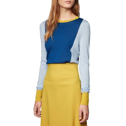 BOSS Blue Colourblock Fiolena Wool Jumper