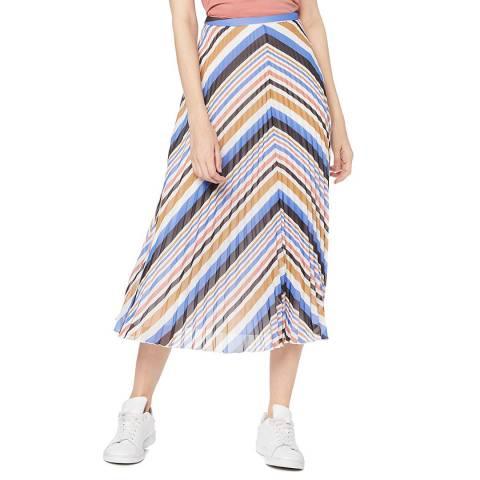 BOSS Multi Stripe Bareny Pleated Skirt