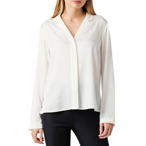 BOSS White Bivana Silk Blend Blouse