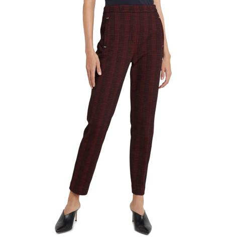 HUGO Burgundy Check Hanette Straight Stretch Trousers