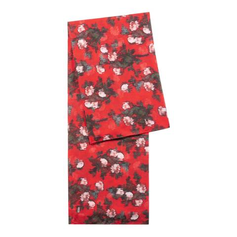 BOSS Red Floral Print Scarf