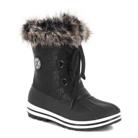 Kimberfeel Black Croco Elisa Faux Fur Cuff Snow Boots