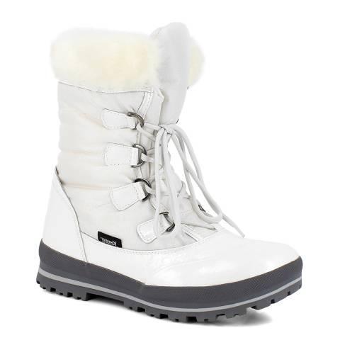 Kimberfeel White Victoria Faux Fur Cuff Boot