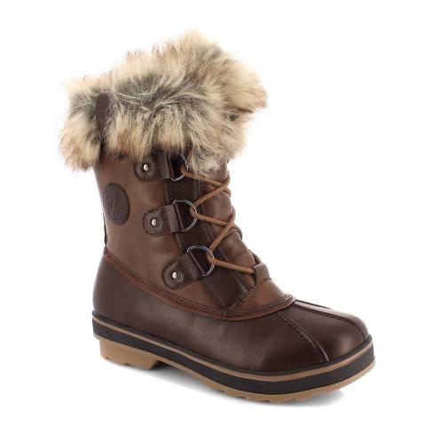 Kimberfeel Brown Emmny Faux Fur Cuff Snow Boots