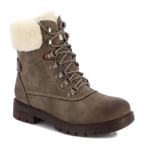 Kimberfeel Taupe Flavie Hiker Ankle Boots