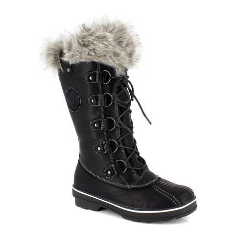 Kimberfeel Black Lyana Faux Fur Cuff Snow Boots