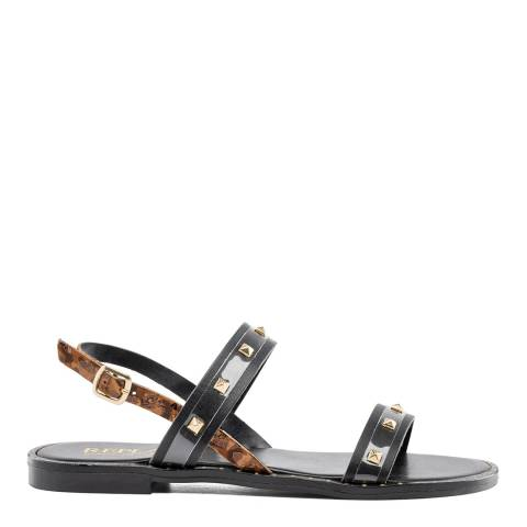 Replay Black Leopard Nymet Leather Sandals