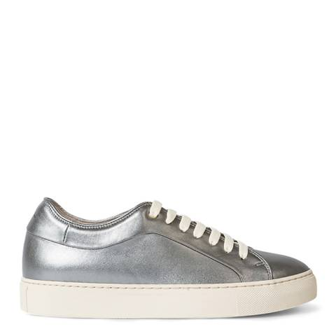 PAUL SMITH Silver Metallic Leather Basso Sneaker