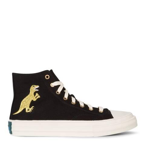 PAUL SMITH Black/Gold Kirk Dino Print Sneaker