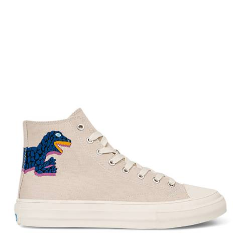 PAUL SMITH Ivory/Blue Kirk Dino Print Sneaker