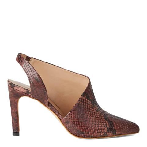 Hobbs London Burgundy Snake Print Madison Slingback Heels