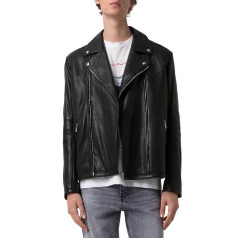 HUGO Black Lanster Leather Biker Jacket