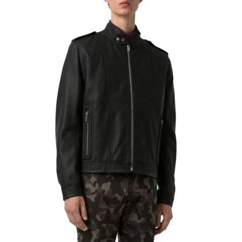 HUGO Black Lector Leather Biker Jacket