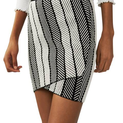 MAJE KNITTED WRAP-AROUND SKIRT BICOLOR
