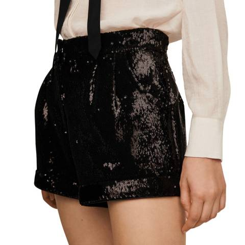 MAJE Black Ivy Sequin Party Shorts