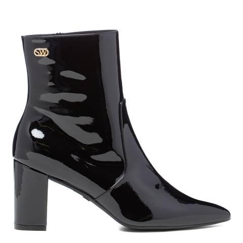 Stuart Weitzman Black Patent Linaria 75 Ankle Boots