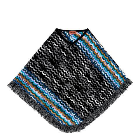 Missoni Black Blue Zig Zag Poncho