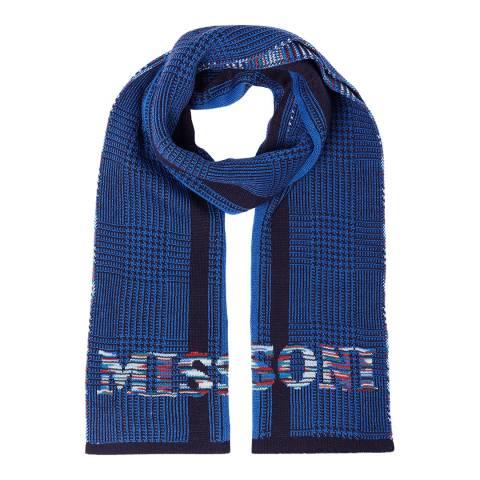 Missoni Blue Logo Wool Scarf