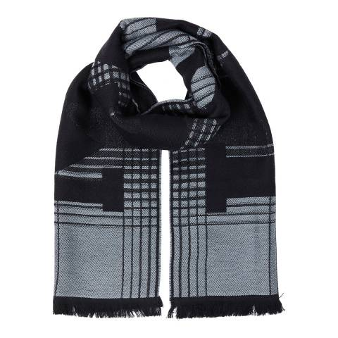 Missoni Black Grey Logo Check Scarf