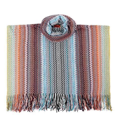Missoni Blue Multi Stripe Tassel Poncho