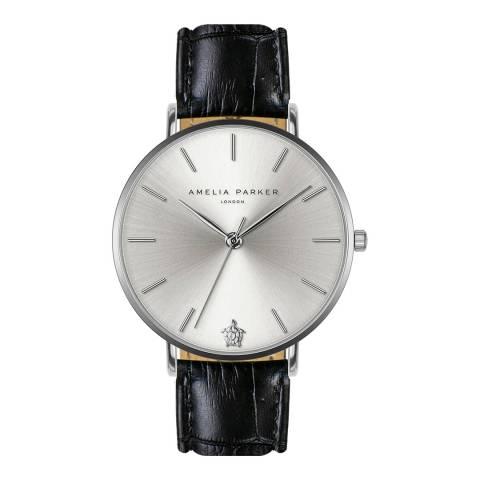 Amelia Parker Grey Black Capsule Leather Watch 38mm