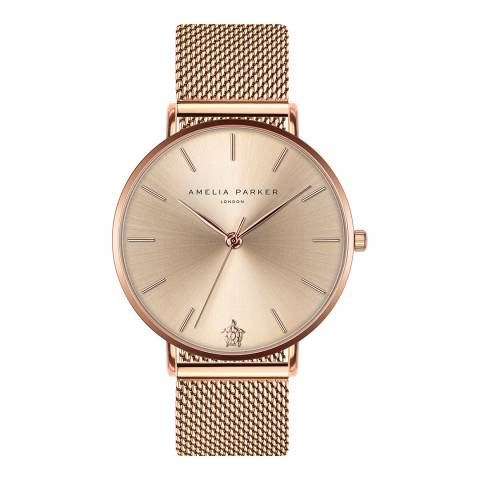 Amelia Parker Rose Gold Sky Mesh Watch 38mm