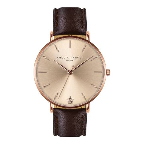 Amelia Parker Brown Gold Sky Leather Watch 38mm