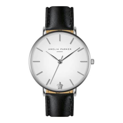 Amelia Parker Black Pure Leather Watch 38mm