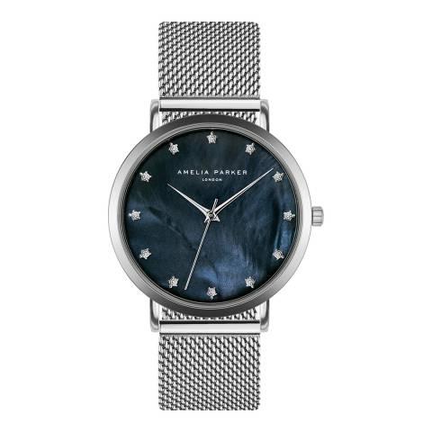 Amelia Parker Silver Eternity Blue Mesh Watch 36mm