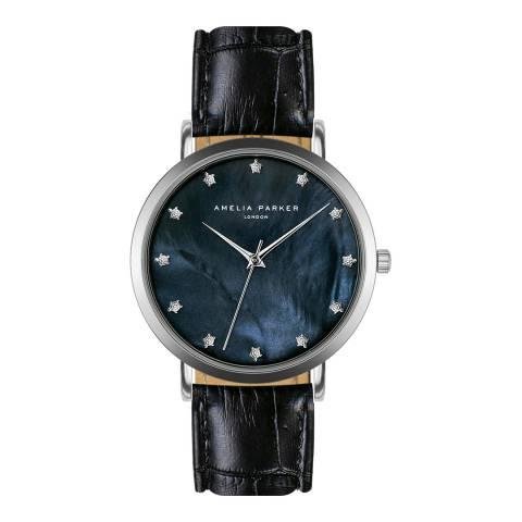 Amelia Parker Black Eternity Blue Leather Watch 36mm