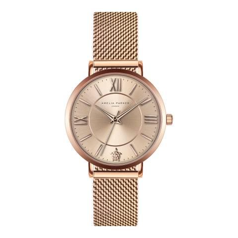 Amelia Parker Rose Gold Petite Rose Mesh Watch 32mm