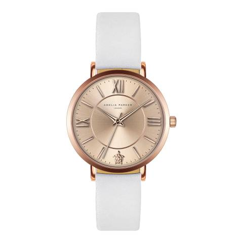 Amelia Parker White Petite Rose Leather Watch 32mm