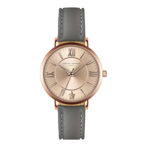Amelia Parker Grey Petite Rose Leather Watch 32mm